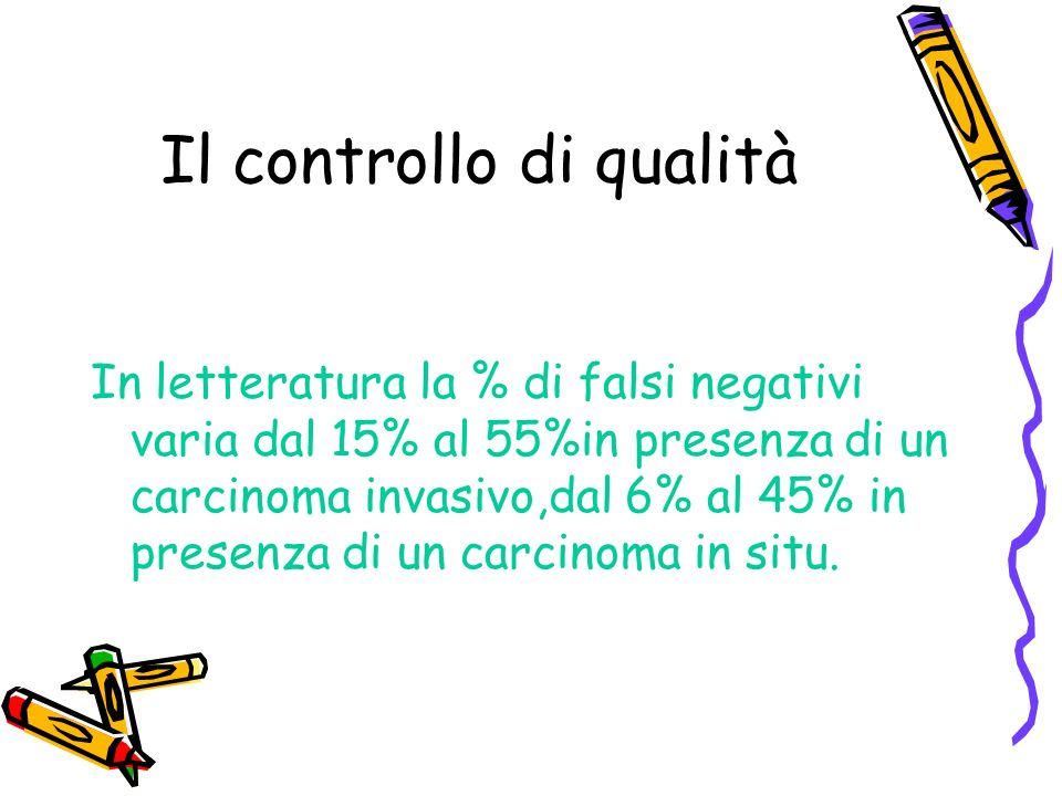 Il controllo di qualità In letteratura la % di falsi negativi varia dal 15% al 55%in presenza di un carcinoma invasivo,dal 6% al 45% in presenza di un