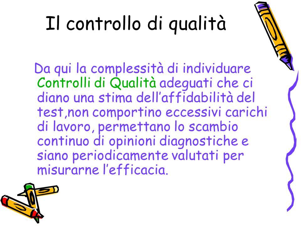 Il controllo di qualità Da qui la complessità di individuare Controlli di Qualità adeguati che ci diano una stima dellaffidabilità del test,non compor
