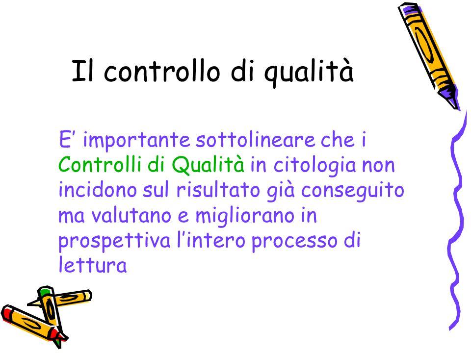 Il controllo di qualità E importante sottolineare che i Controlli di Qualità in citologia non incidono sul risultato già conseguito ma valutano e migl