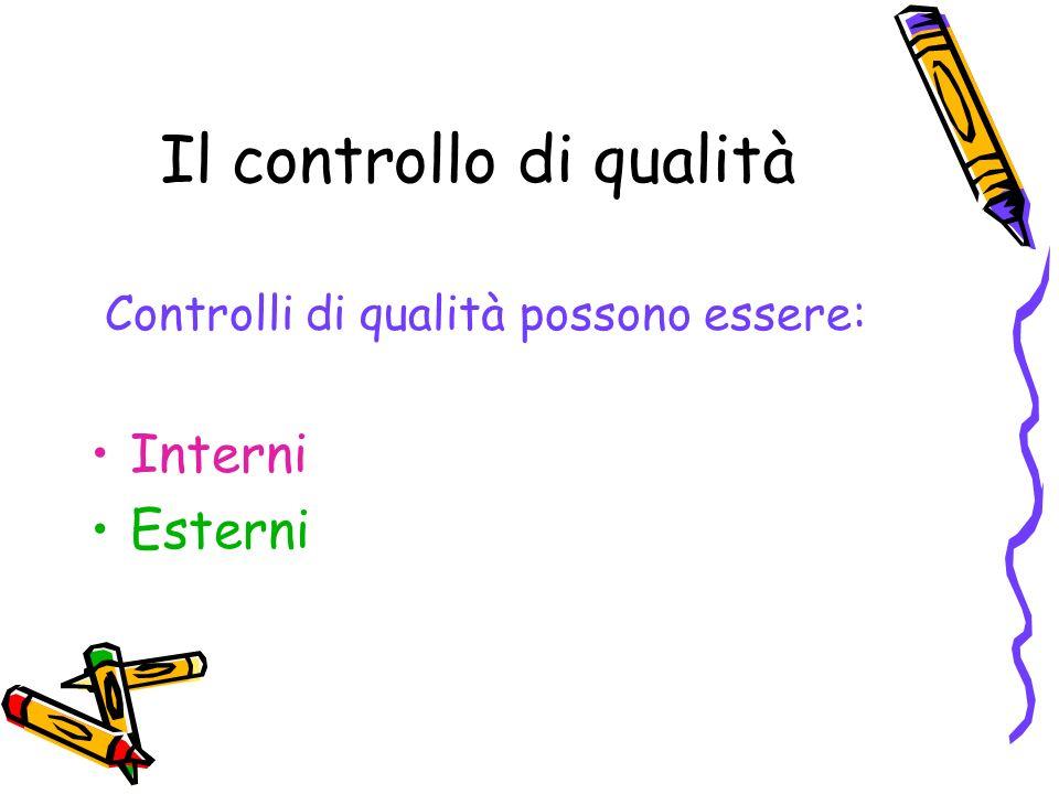 Il controllo di qualità Controlli di qualità possono essere: Interni Esterni