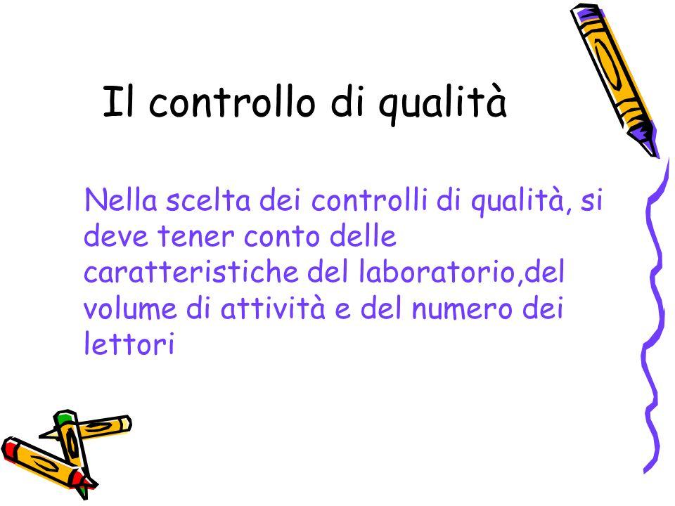 Il controllo di qualità Nella scelta dei controlli di qualità, si deve tener conto delle caratteristiche del laboratorio,del volume di attività e del