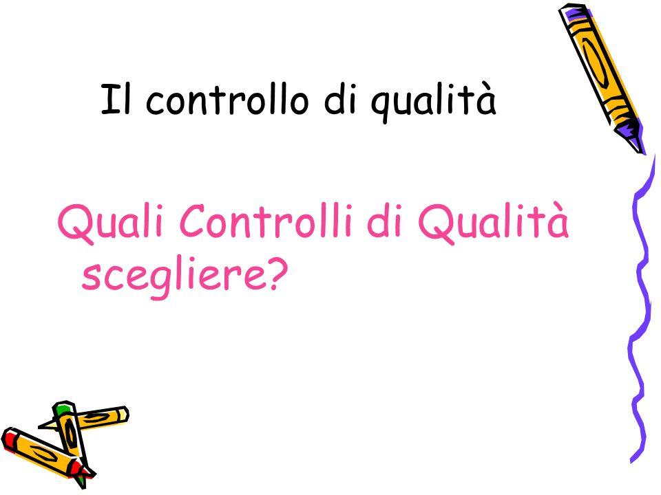 Il controllo di qualità Quali Controlli di Qualità scegliere?