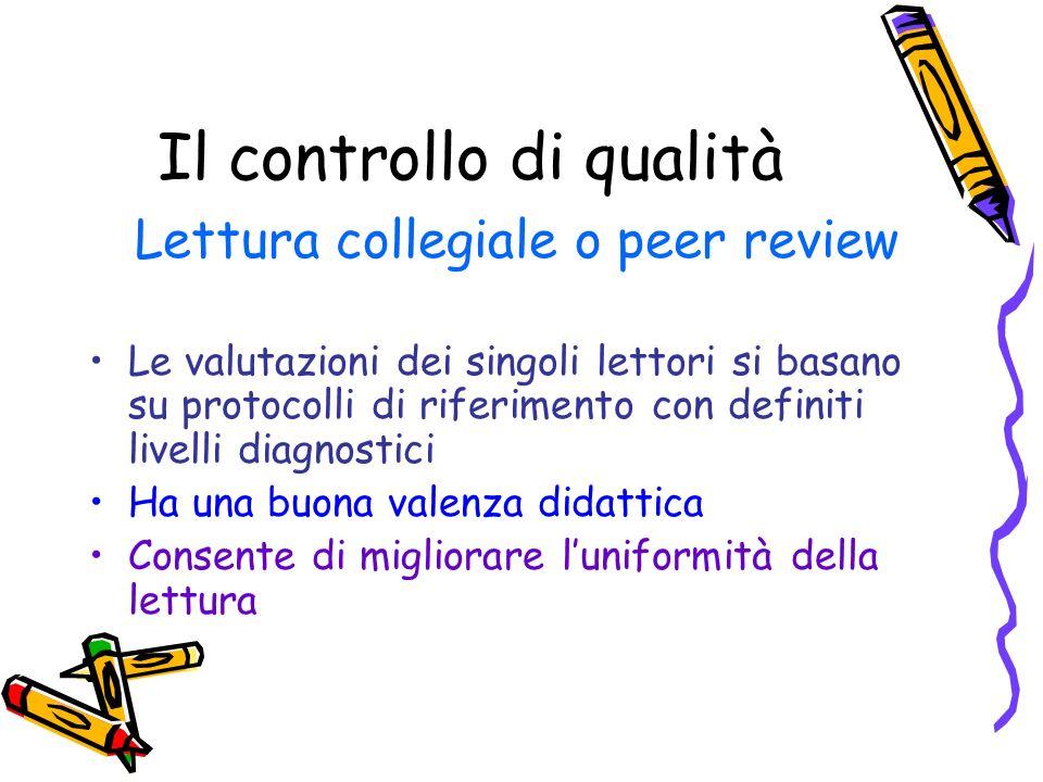 Il controllo di qualità Lettura collegiale o peer review Le valutazioni dei singoli lettori si basano su protocolli di riferimento con definiti livell