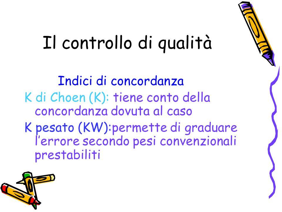 Il controllo di qualità Indici di concordanza K di Choen (K): tiene conto della concordanza dovuta al caso K pesato (KW):permette di graduare lerrore