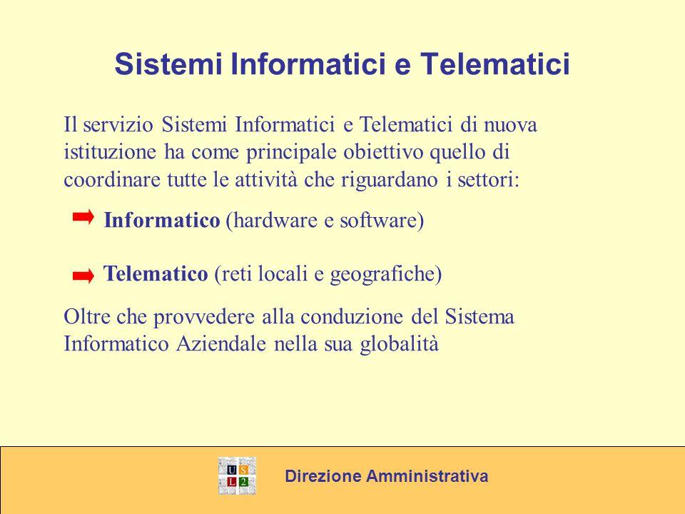 Direzione Amministrativa Sistemi Informatici e Telematici Il servizio Sistemi Informatici e Telematici di nuova istituzione ha come principale obiettivo quello di coordinare tutte le attività che riguardano i settori: Informatico (hardware e software) Telematico (reti locali e geografiche) Oltre che provvedere alla conduzione del Sistema Informatico Aziendale nella sua globalità