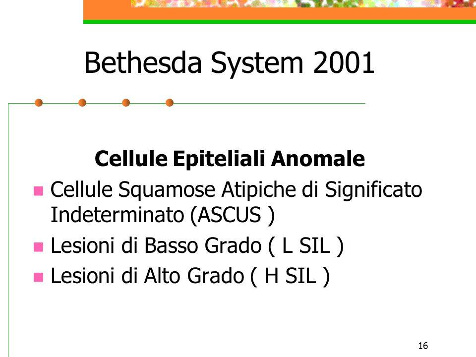 16 Bethesda System 2001 Cellule Epiteliali Anomale Cellule Squamose Atipiche di Significato Indeterminato (ASCUS ) Lesioni di Basso Grado ( L SIL ) Le