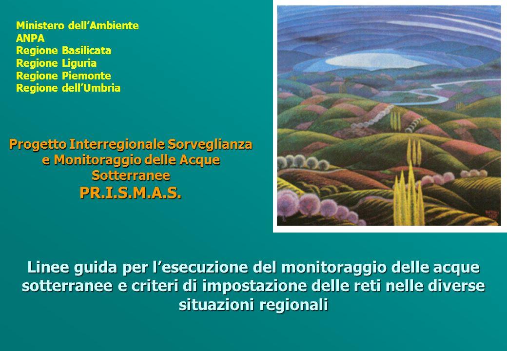 Ministero dellAmbiente ANPA Regione Basilicata Regione Liguria Regione Piemonte Regione dellUmbria Progetto Interregionale Sorveglianza e Monitoraggio delle Acque Sotterranee PR.I.S.M.A.S.