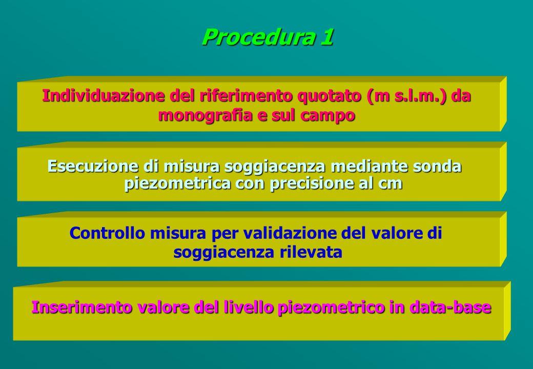 STANDARDS OPERATIVI Misure quantitative 1 PIEZOMETRI E POZZI NON IN FUNZIONE 3 POZZI ARTESIANI 2 POZZI IN FUNZIONE