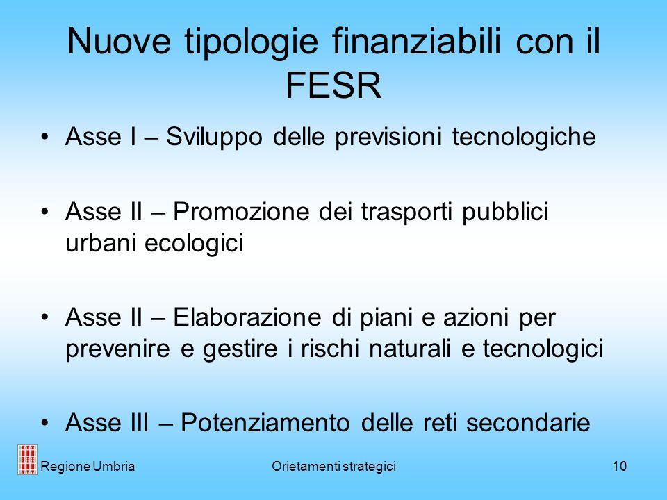 Regione UmbriaOrietamenti strategici10 Nuove tipologie finanziabili con il FESR Asse I – Sviluppo delle previsioni tecnologiche Asse II – Promozione d