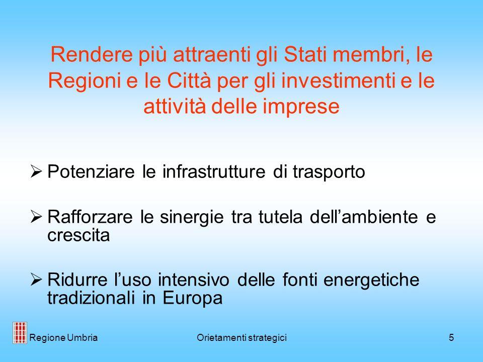Regione UmbriaOrietamenti strategici5 Rendere più attraenti gli Stati membri, le Regioni e le Città per gli investimenti e le attività delle imprese P