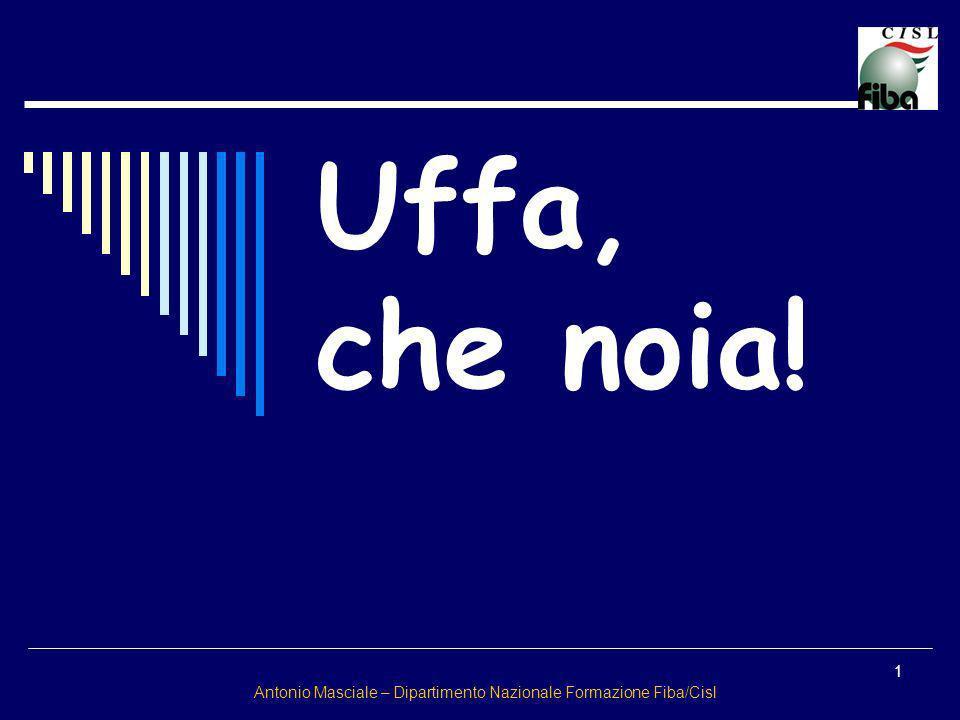 1 Uffa, che noia! Antonio Masciale – Dipartimento Nazionale Formazione Fiba/Cisl