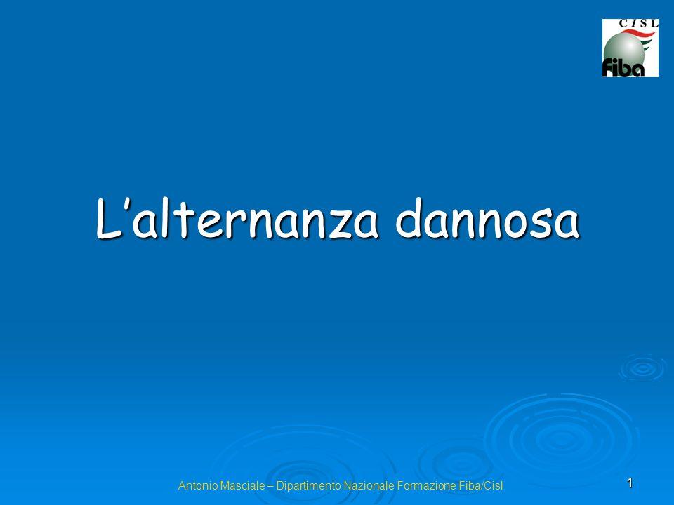 1 Lalternanza dannosa Antonio Masciale – Dipartimento Nazionale Formazione Fiba/Cisl