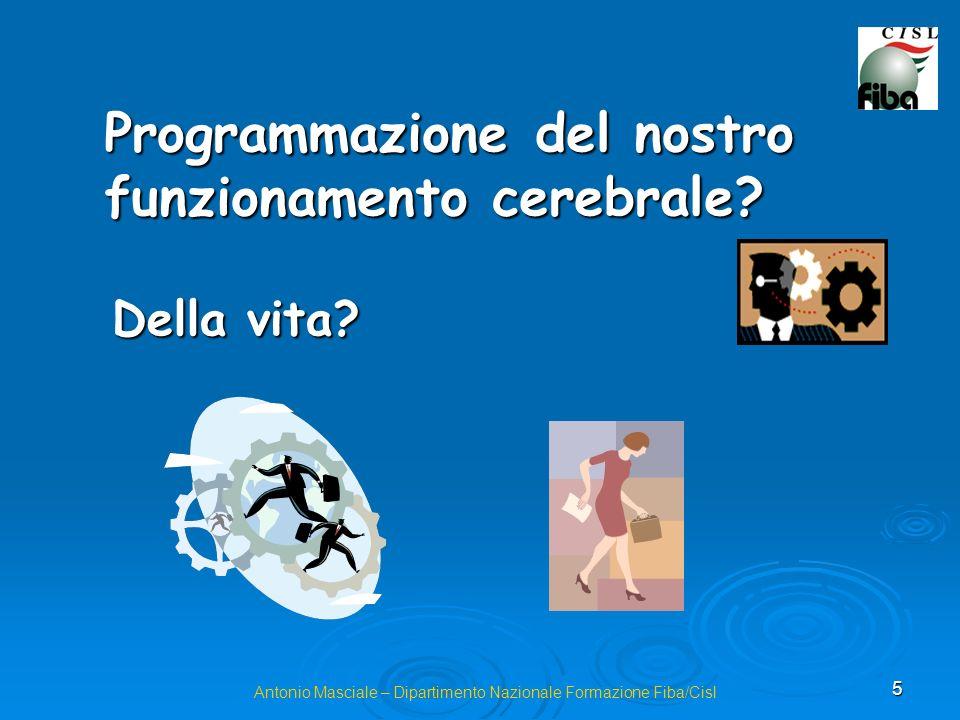 5 Antonio Masciale – Dipartimento Nazionale Formazione Fiba/Cisl Programmazione del nostro funzionamento cerebrale.