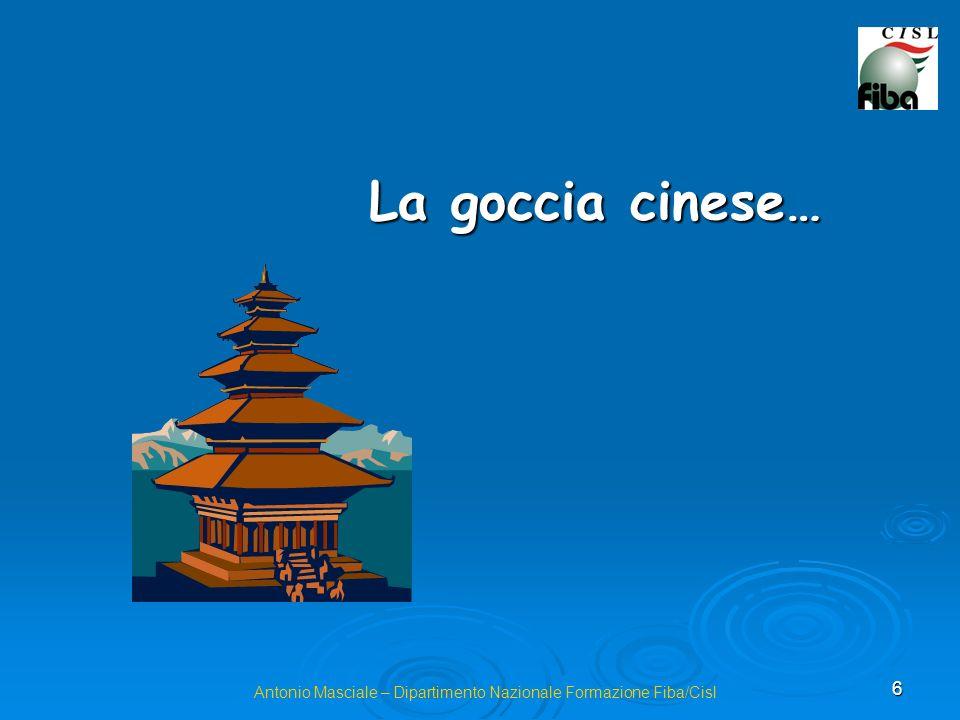 6 Antonio Masciale – Dipartimento Nazionale Formazione Fiba/Cisl La goccia cinese…