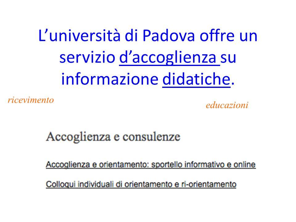 Luniversità di Padova offre un servizio daccoglienza su informazione didatiche.