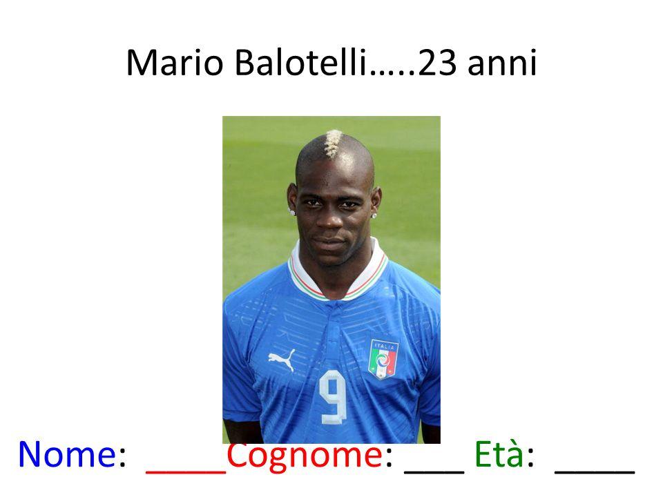 Mario Balotelli…..23 anni Nome: ____Cognome: ___ Età: ____