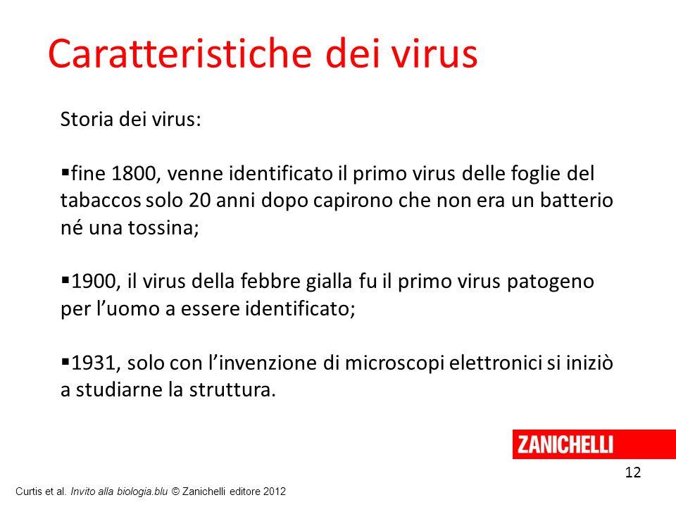 12 Curtis et al. Invito alla biologia.blu © Zanichelli editore 2012 Caratteristiche dei virus Storia dei virus: fine 1800, venne identificato il primo