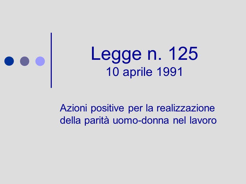 Legge n. 125 10 aprile 1991 Azioni positive per la realizzazione della parità uomo-donna nel lavoro