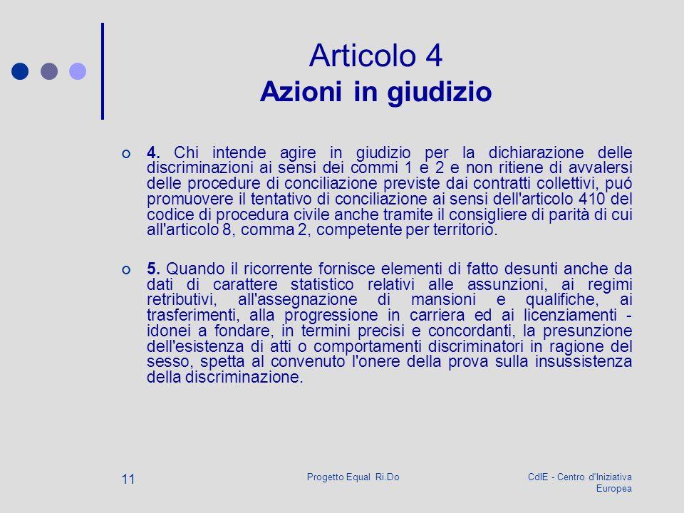 CdIE - Centro d'Iniziativa Europea Progetto Equal Ri.Do 11 Articolo 4 Azioni in giudizio 4. Chi intende agire in giudizio per la dichiarazione delle d