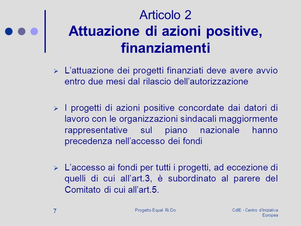 CdIE - Centro d'Iniziativa Europea Progetto Equal Ri.Do 7 Articolo 2 Attuazione di azioni positive, finanziamenti Lattuazione dei progetti finanziati