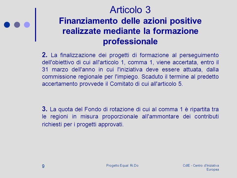 CdIE - Centro d Iniziativa Europea Progetto Equal Ri.Do 9 Articolo 3 Finanziamento delle azioni positive realizzate mediante la formazione professionale 2.