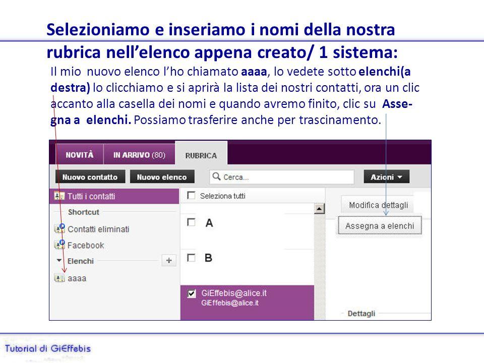 Creazione di un elenco (destinatari) su Yahoo Se scriviamo sempre alle stesse persone è più pratico inserire tutti i nomi in un Elenco, anziché digita