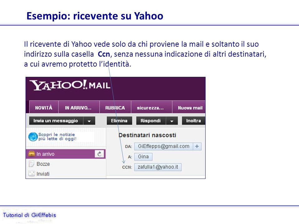 Aggiungiamo la casella Ccn = Copia carbone nascosta Con la casella di posta Yahoo è semplicissimo: basta cliccare Aggiungi Ccn, ovvero Copia Carbo- ne