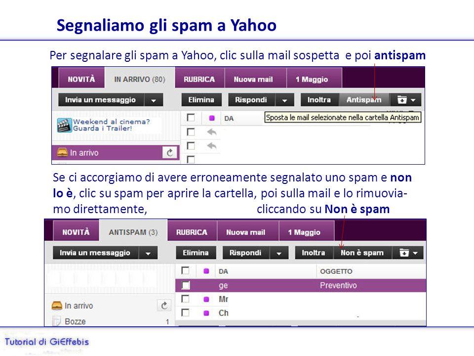 Segnaliamo gli spam a Yahoo Per segnalare gli spam a Yahoo, clic sulla mail sospetta e poi antispam Se ci accorgiamo di avere erroneamente segnalato uno spam e non lo è, clic su spam per aprire la cartella, poi sulla mail e lo rimuovia- mo direttamente, cliccando su Non è spam