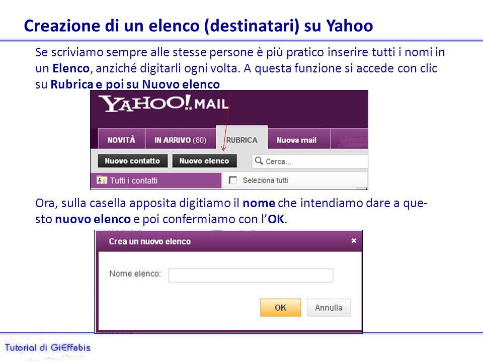 Creazione di un elenco (destinatari) su Yahoo Se scriviamo sempre alle stesse persone è più pratico inserire tutti i nomi in un Elenco, anziché digitarli ogni volta.
