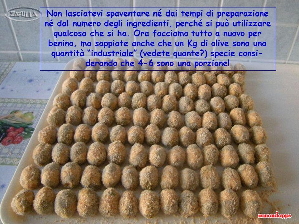 Ingredienti per farcire 1 Kg di olive verdi in salamoia, pesate già snocciolate: 700 gr polpa magra di carni miste, 10 uova intere, 400 gr.