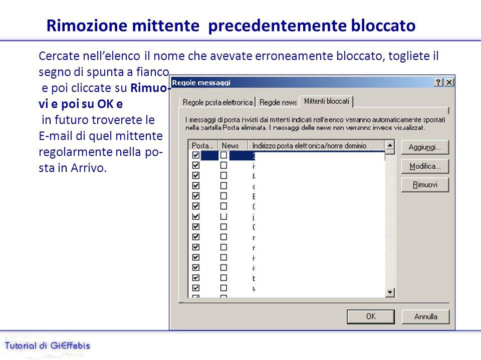 Allelenco mittenti bloccati si accede da Strumenti/Regole messaggi/ Elenco mittenti bloccati.