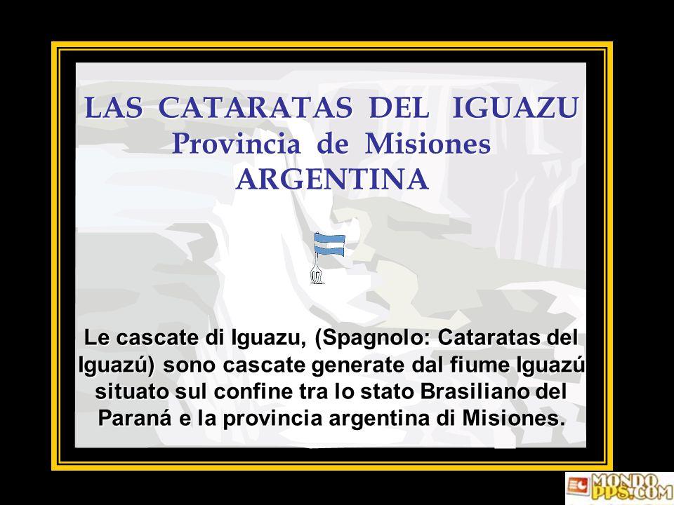 LAS CATARATAS DEL IGUAZU Provincia de Misiones ARGENTINA Le cascate di Iguazu, (Spagnolo: Cataratas del Iguazú) sono cascate generate dal fiume Iguazú situato sul confine tra lo stato Brasiliano del Paraná e la provincia argentina di Misiones.