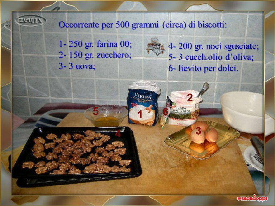 Occorrente per 500 grammi (circa) di biscotti: 1- 250 gr.