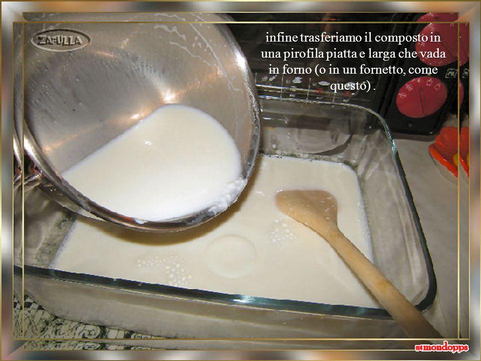 ora lo versiamo nel tegame che contiene il latte tiepido e mescoliamo ancora, sciogliendo bene i grumi;