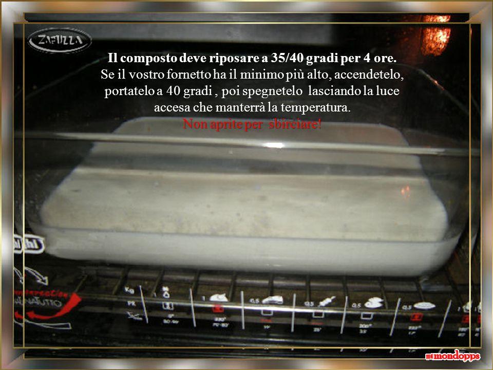 infine trasferiamo il composto in una pirofila piatta e larga che vada in forno (o in un fornetto, come questo).