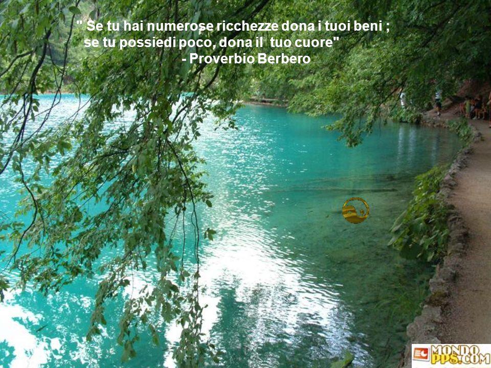 Se tu hai numerose ricchezze dona i tuoi beni ; se tu possiedi poco, dona il tuo cuore - Proverbio Berbero