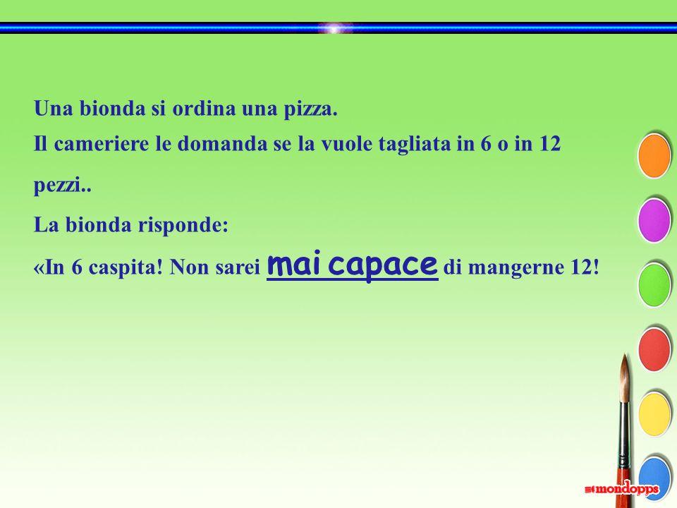 Una bionda si ordina una pizza.Il cameriere le domanda se la vuole tagliata in 6 o in 12 pezzi..