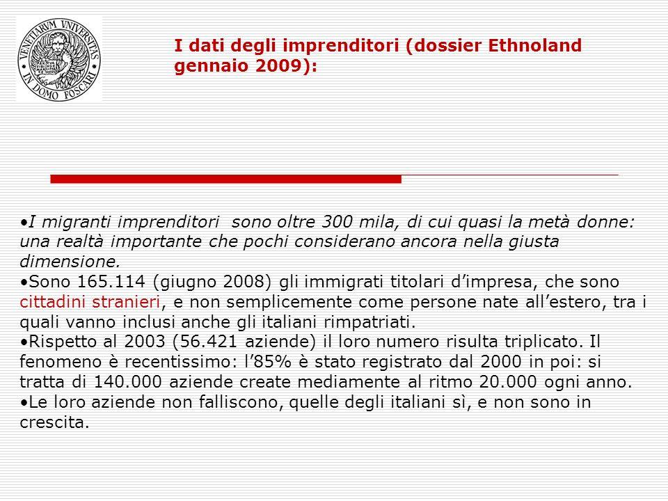 I dati degli imprenditori (dossier Ethnoland gennaio 2009): I migranti imprenditori sono oltre 300 mila, di cui quasi la metà donne: una realtà import