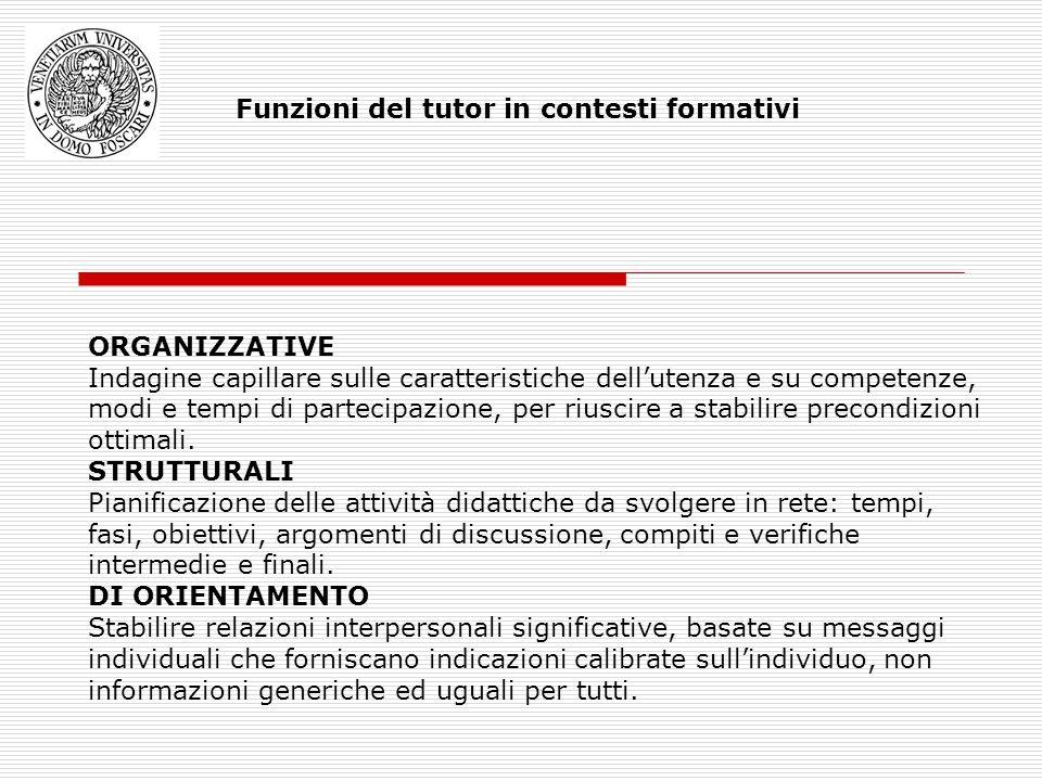 Funzioni del tutor in contesti formativi ORGANIZZATIVE Indagine capillare sulle caratteristiche dellutenza e su competenze, modi e tempi di partecipazione, per riuscire a stabilire precondizioni ottimali.