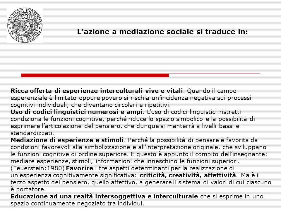 Lazione a mediazione sociale si traduce in: Ricca offerta di esperienze interculturali vive e vitali.
