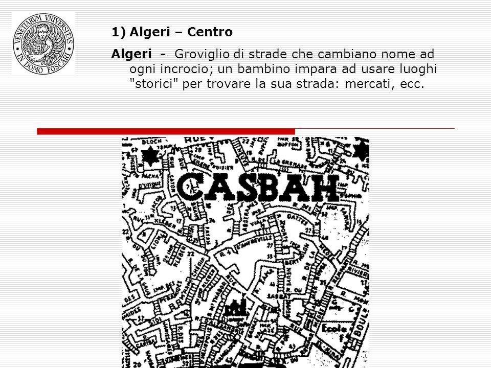 1)Algeri – Centro Algeri - Groviglio di strade che cambiano nome ad ogni incrocio; un bambino impara ad usare luoghi storici per trovare la sua strada: mercati, ecc.