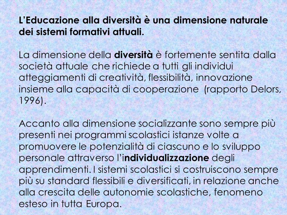 LEducazione alla diversità è una dimensione naturale dei sistemi formativi attuali. La dimensione della diversità è fortemente sentita dalla società a