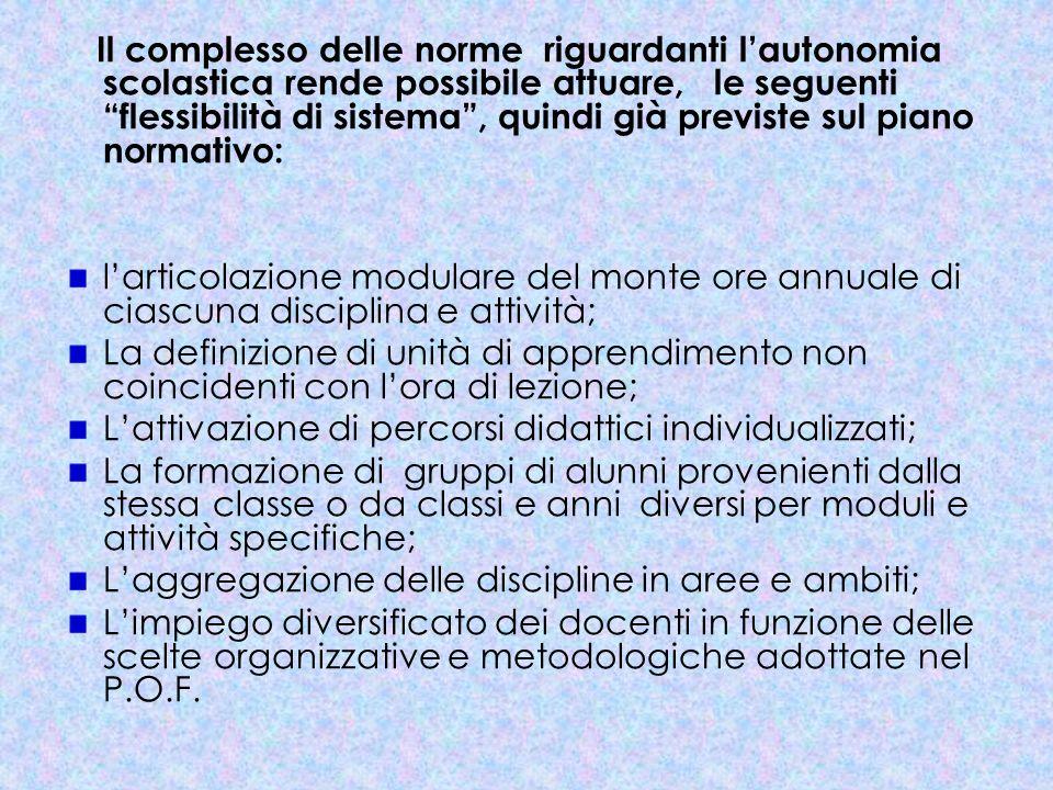 Il complesso delle norme riguardanti lautonomia scolastica rende possibile attuare, le seguenti flessibilità di sistema, quindi già previste sul piano