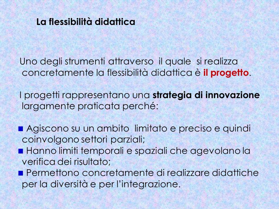La flessibilità didattica Uno degli strumenti attraverso il quale si realizza concretamente la flessibilità didattica è il progetto. I progetti rappre