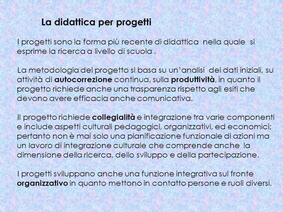 La didattica per progetti I progetti sono la forma più recente di didattica nella quale si esprime la ricerca a livello di scuola. La metodologia del