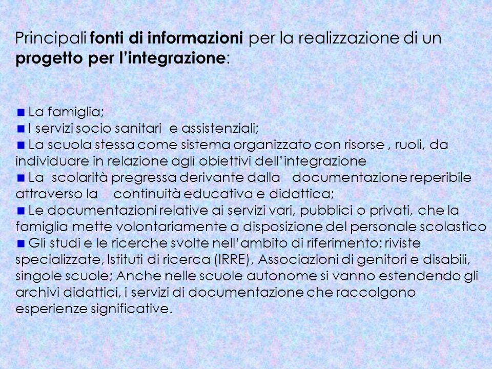 Principali fonti di informazioni per la realizzazione di un progetto per lintegrazione : La famiglia; I servizi socio sanitari e assistenziali; La scu