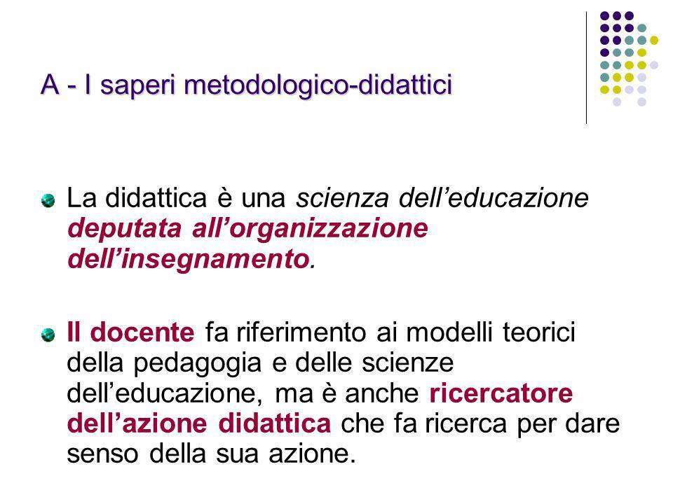 A - I saperi metodologico-didattici La didattica è una scienza delleducazione deputata allorganizzazione dellinsegnamento. Il docente fa riferimento a