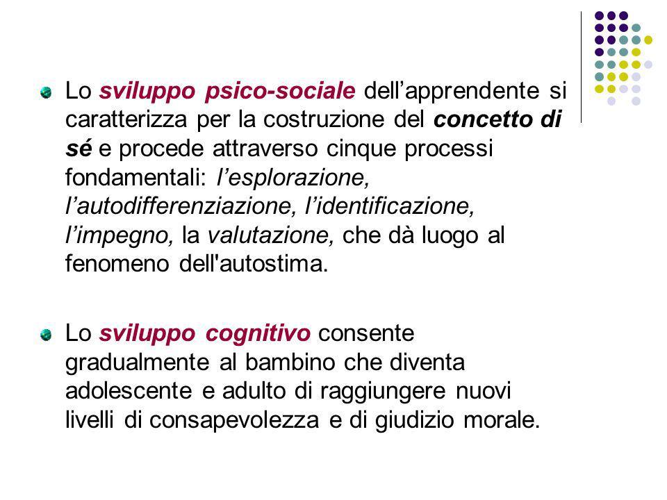 Lo sviluppo psico-sociale dellapprendente si caratterizza per la costruzione del concetto di sé e procede attraverso cinque processi fondamentali: les