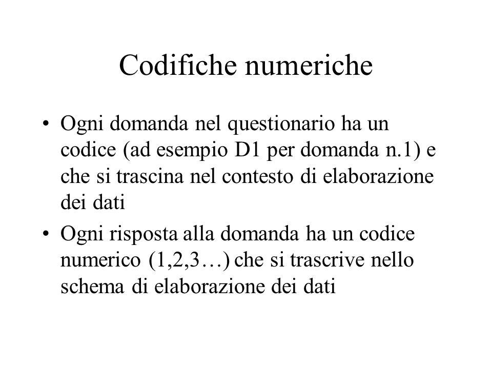 Codifiche numeriche Ogni domanda nel questionario ha un codice (ad esempio D1 per domanda n.1) e che si trascina nel contesto di elaborazione dei dati Ogni risposta alla domanda ha un codice numerico (1,2,3…) che si trascrive nello schema di elaborazione dei dati