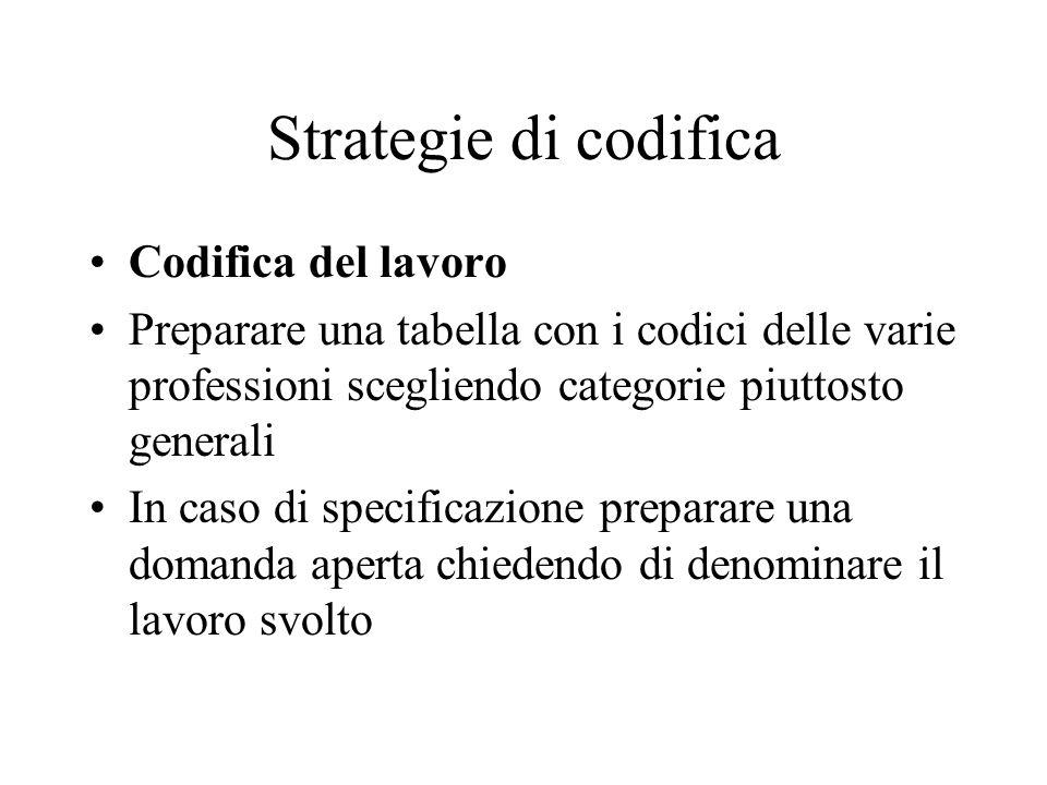 Strategie di codifica Codifica del lavoro Preparare una tabella con i codici delle varie professioni scegliendo categorie piuttosto generali In caso di specificazione preparare una domanda aperta chiedendo di denominare il lavoro svolto